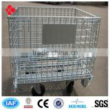 Collapsible Wire Mesh Container/rolling Metal Storage Cage(10 years factory)