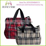 British Style Plaids Canvas Baby Customized Tote Mommy Bag