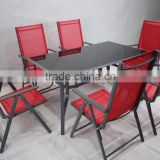 Outdoor Garden Patio 7 Positions Adjustable Portable Steel Reclining Folding Chair and Steel Sturdy Table Dining Set