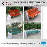 17-year manufacturing experience Cement garden stone bench with back metal and wooden stone garden bench