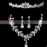 2016 Fashion Alloy Silver Plated Rhinestone Tiara Crown,Necklace,Earring Bridal Wedding Jewelry Set