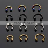 100 PCS Color Plated Barbell Circular Horseshoe Ring Gauges 18G/16G/14G Inside Diameter Various From 6/8/10/12mm.