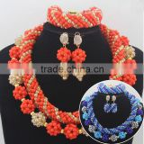 Gorgeous uniform wares High Quality Bridal Jewelry Sets/Beads Jewelry Set for Nigeria wedding/African bride's Beads Jewelry Set                                                                         Quality Choice