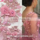 2016 factory wedding dress Pearls french lace fabric 3d flower beaded lace embroidered fabric
