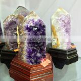 Natural Amethyst Geode Cluster Wand Point Crystal Ornaments For Sale