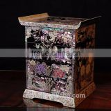 Mother of Pearl Inlaid Cuboid Lacquered Wooden Jewelry Keepsake Girls Jewel Ring Drawer Box Chest Case