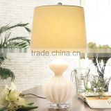 UL E26 acrylic base new design white glass lamps with gourd shape and beige linen barrel lampshade for hotel guest room