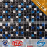 LYY 8mm crystal marble mosaic decorative outdoor wall tiles puzzle shape backsplash square glass mosaic tile for bathroom