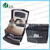 HX-CP1119G, black leather case unique design cosmetic jewelry box faux leather jewelry box maquillage chest faux crocodile leath