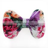 Wholesale fancy flower printed hair clips girls cheap price plastic bowknot hair barrette