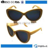 Best sale customizable cat eye round polarized lens vintage bamboo and wood sunglasses handmade wholesale in china