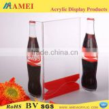 2014 HOT SELL dining-table t-shape acrylic bill menu base display shelf stander with logo printed