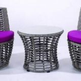 Garden furniture Side table Aluminum frame Baclony PE round rattan weave+5mm tempered glass comfortable