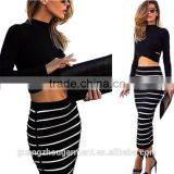 2015 Hot Fashion Two Pieces Striped Skirt + Hollow Out Sexy Bare Belly Long Sleeve Tops 1 set