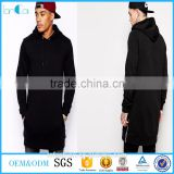 Hip hop street wear shirt Latest men's long blank hoodies sweatshirts tee with side zip