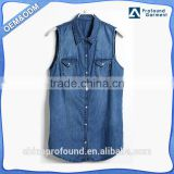 Latest designs custom two pockets buttons up sleeveless vest wholesale denim tank tops women