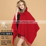 In Style Real Black fox Fur Trim Cashmere Wool Cape Shawl
