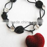 Wholesale 2014 hot sales big red heart pendant bracelet with black color wire bracelet with clear white crystal