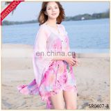 wholesale chiffon beach wear cover up cardishawl with botton neck designs for blouse korean ladies tops