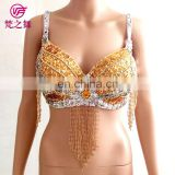 YD-025 Austrial Hot sale multy color sequins beaded tassel belly dance bra