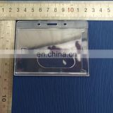 Horizontal clear plastic id badge card holder for one id card