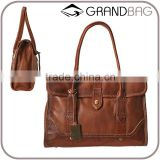 vintage brown leather tote bag handbag with magnetic snap closure for women