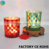 hand blown red mercury glass candle cup / holder votive with metal lid/ wedding bar home deco wholesale