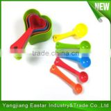 (DCP-MP012) 10 Pieces Heart Shape Colorful Plastic Measuring Spoon Set