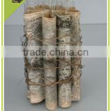Natural Material Craft New Design Decor Birch Bark Glass Candleholder