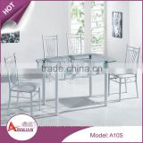 Restaurant clear glass top rotating dinning table sets oval-shaped glass dining table with leather chairs