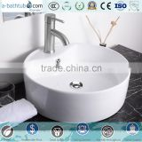 Round Bowl Bathroom Porcelain Vessel Sink White Ceramic Basin With Free Drain