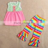 wholesale kids adorable rainbow outfits child cotton top with rainbow pant boutique clothing