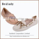 Factory customized classic lychee leather low thick heel 1.0cm moccasin loafers shoes casual