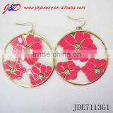 Round rose flower earrings coral jewelry