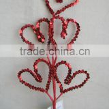 "2015 new design christmas decoration 20.5"" spray sequin heart shape for christmas indoor market decorations"