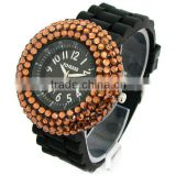 Nobby Fashion Colorful Geneva Lady/Women/Girl Jelly Silicone Quartz Wrist Watch with diamond Black