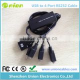 FT232 USB 2.0 TO 4 ports Serial RS-232 Adapter Cable