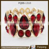 Latest design exaggerated punk fashion red teardrop wide bracelet Image