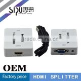 SIPU factory price vga splitter 1 input 2 output hdmi to vga splitter switch 2 output 1 input