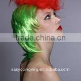 Crazy halloween wig, cheap green color hair party wig,rainbow wig, clown wig