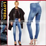 Supersoft high waisted ultra skinny jeans in Light Stonewash women denim jeans pants (LOTX109)