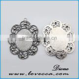 12mm alloy base setting	,DIY jewelry cameo jewelry settings,Metal Charms Flower setting