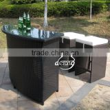 Outdoor furniture PE rattan bar counter table and high stools for Pub and Club outdoor furniture
