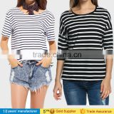 2017 Fashion lady casual clothing loose tee tops plus size o neck cotton black white striped t-shirts for big women summer