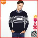 New fashion mens black and white striped knitted vertical stripes sweater