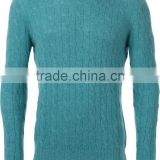 Mens jumper cable knit sweater crew neck cashmere sweater thin pullover