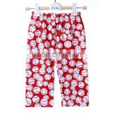 Wholesale hot sale in US market red white baseball children clothes capris Quality Choice