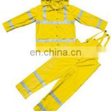 yellow hi vis safety rain bib pants and a set of jacket