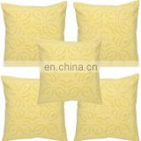 Yellow Cut Work Cushion Covers