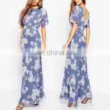 Online Shopping Fitted Waistband V Back Floral Printed Blue Long Chiffon Maxi Dress